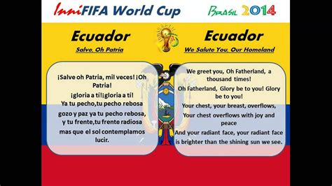 Ecuador Anthem Translated   Salve, Oh Patria   YouTube