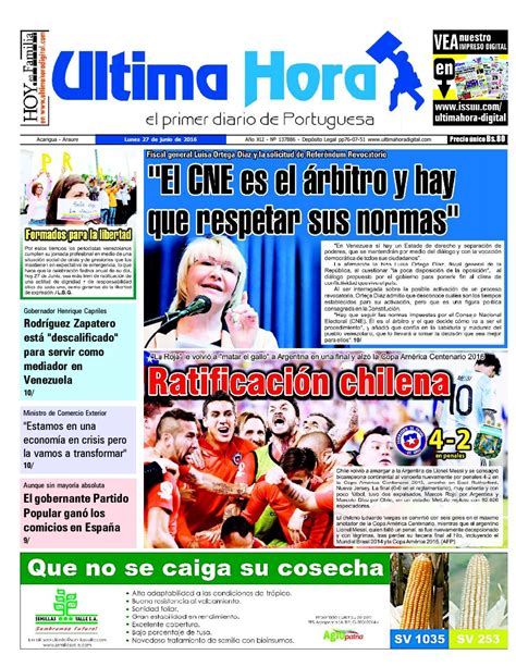 Edicion 27 06 2016 by Ultima Hora   El primer diario de ...