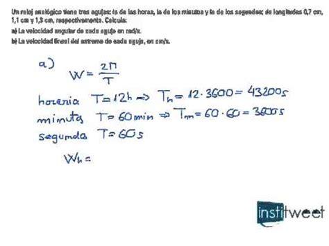 Ejecicio física para calcular velocidad lineal y angular ...