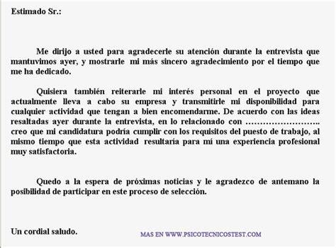 Ejemplo Carta de Agradecimiento despues de la Entrevista ...