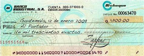 ejemplo cheque | medios de pago | Cheque al portador y Cheque