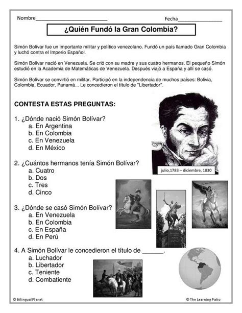 ejercicio biografía Simón Bolívar | Learning spanish ...