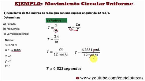Ejercicio Resuelto de Velocidad Lineal No.1   YouTube
