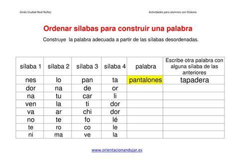 Ejercicios dislexia ordenar sílabas para construir una ...