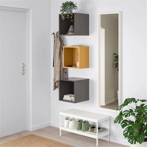 EKET Wall mounted cabinet combination   golden brown, dark ...