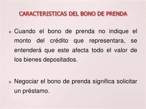 El Bono de Prenda