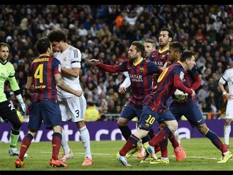 El Clasico   Real Madrid vs Barcelona  Fights, Fouls, Red ...