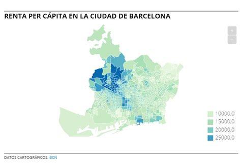 El mapa de la renta per capita en Barcelona, calle a calle