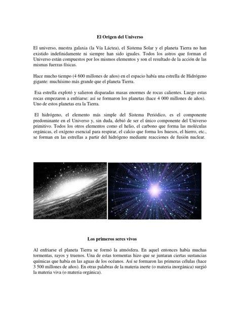 El Origen Del Universo Resumen Historia Medicina   Homo ...