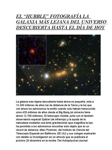 """El """"Hubble"""" Fotografía La Galaxia Más Lejana Del Universo ..."""