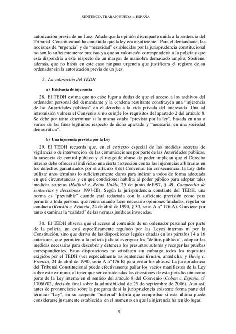 El TEDH condena a España por infracción del art. 8 CEDH