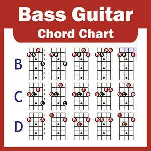 Electric Bass Guitar Chord Chart   4 String   NEW   eBay