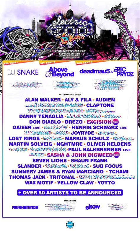 Electric Zoo 2017 phase one lineup