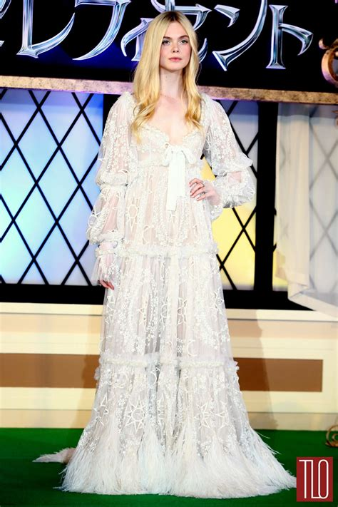Elle Fanning in Alexander McQueen at the  Maleficent ...