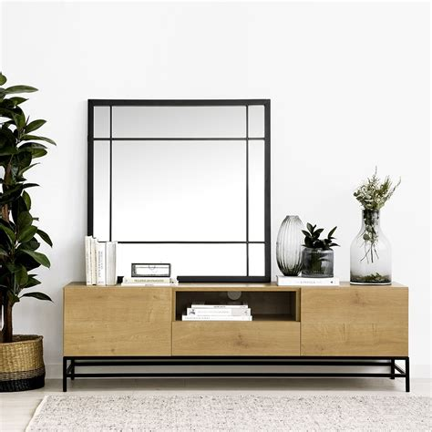 Ellen mueble de televisión 160 cm patas metálicas negras y ...