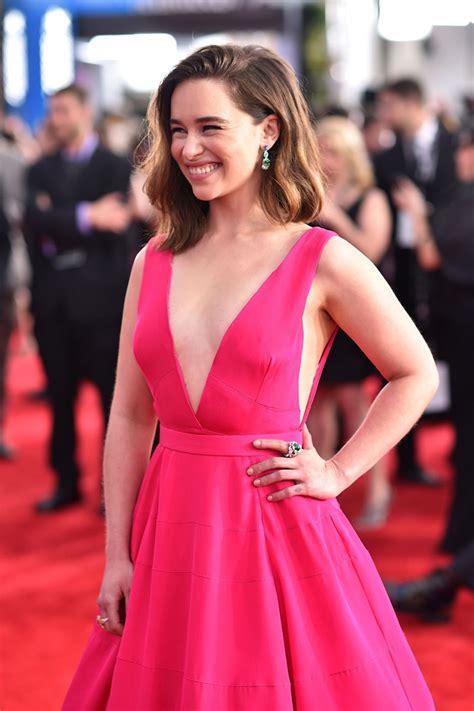 Emilia Clarke Hot Pink Deep V neck Ball Gown Dress SAG ...