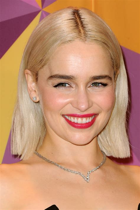 Emilia Clarke Straight Platinum Blonde Blunt Cut, Dark ...