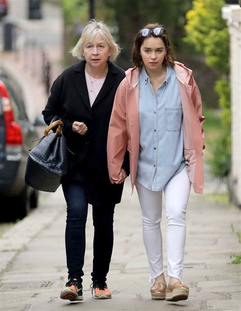 Emilia Clarke Taking a Walk With Her Mother in London