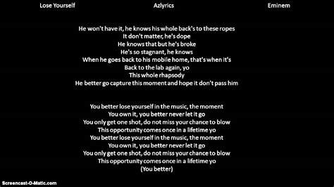Eminem  Lose Yourself lyrics   YouTube