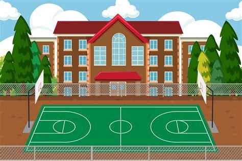 Empty school sport playground   Download Free Vectors ...