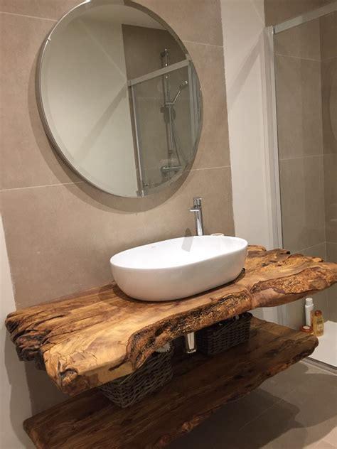 encimera de baño de madera de olivo | Baños madera, Salas ...
