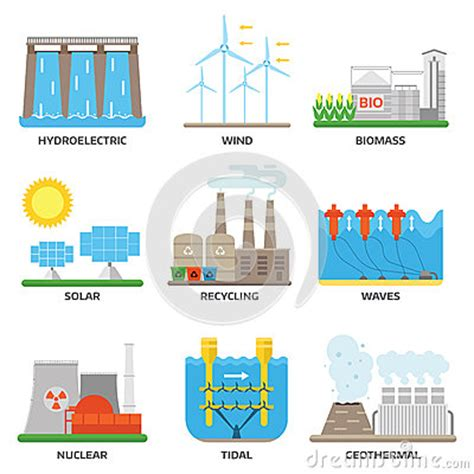 Energy Sources Vector Illustration. Stock Vector   Image ...