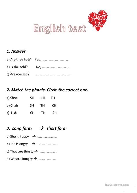 English test unit 2,grade 2   English ESL Worksheets for ...