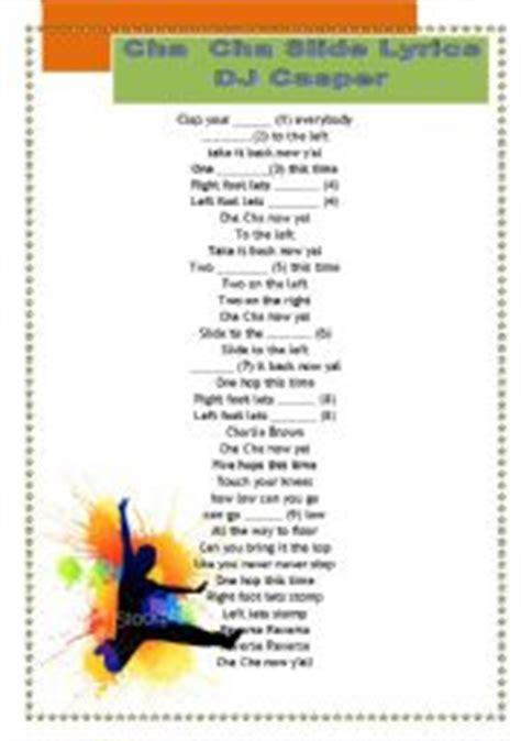English worksheets: Chacha Slide lyric
