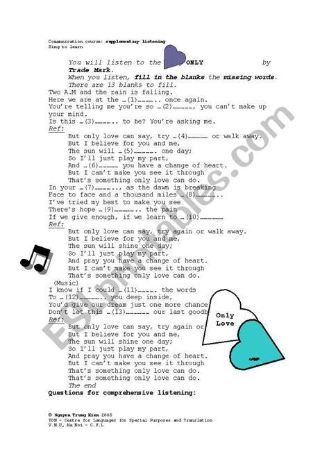 English worksheets: Song lyrics   Sing to Learn