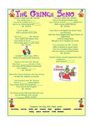 English worksheets: The Grinch Song