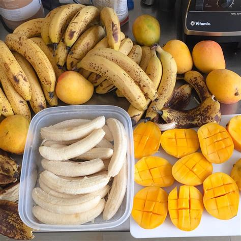 Enjoying a mono meal of Mangos for lunch while Peeling and ...