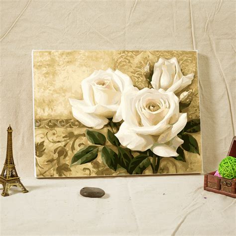 Enmarcado Pintura Al Óleo de DIY flores blancas para ...
