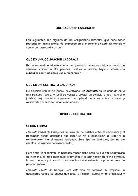 Ensayo obligaciones laborales by Paula Villa   Issuu