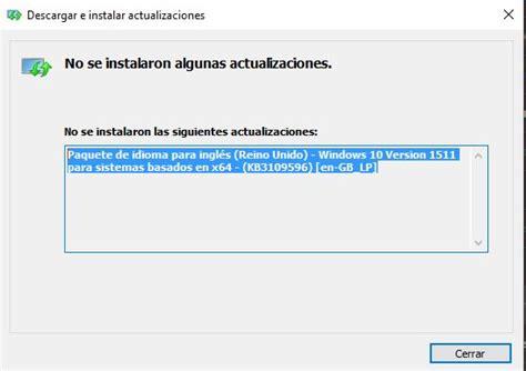 Error al intentar instalar un paquete de idiomas Windows ...