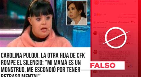 "Es falso que Cristina Kirchner ""escondió a una hija con ..."