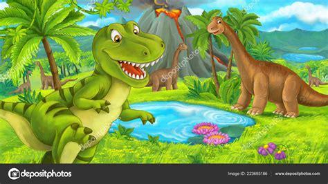 Escena Dibujos Animados Con Feliz Dinosaurio Tyrannosaurus ...