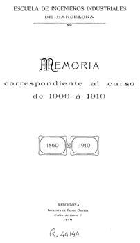 Escola d Enginyers Industrials de Barcelona. Memoria ...