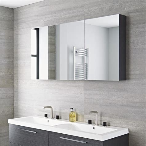 Espejo con Armario de Baño 1350x150x700   Gris