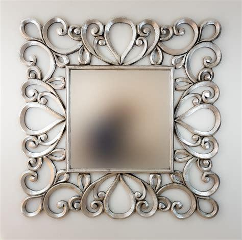 Espejo decorativo de pared en madera Almora Plata ...