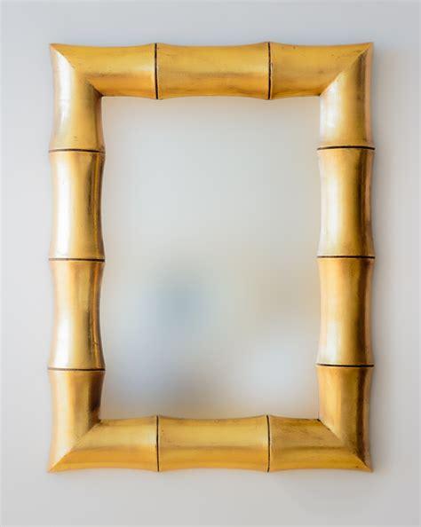 Espejo decorativo de pared en madera Bamboo Oro ...
