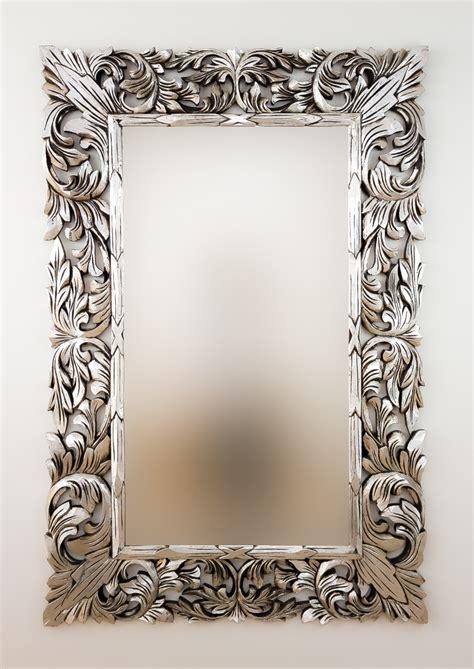 Espejo decorativo de pared en madera Renaisance Plata ...