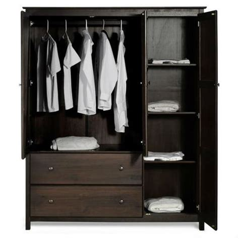 Espresso Wood Finish Bedroom Wardrobe Armoire Cabinet ...