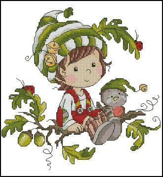 esquema punto de cruz gratis en pdf para bordar elfo de ...