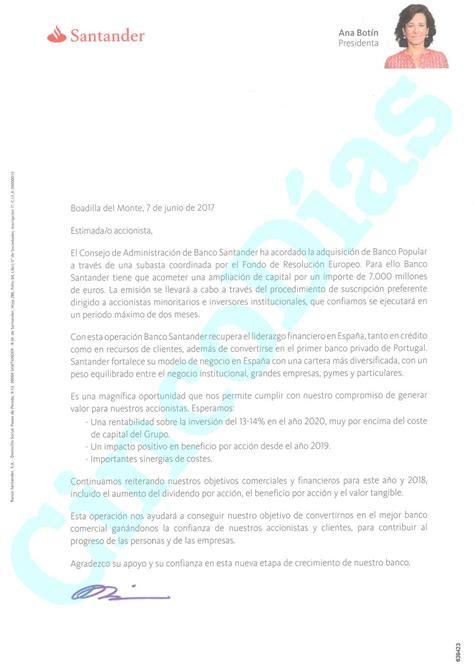 Esta es la carta con la que Botín promete a sus ...