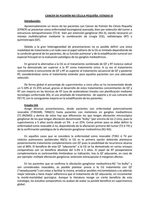 ESTADIO III   Grupo Gallego de Cáncer de Pulmón