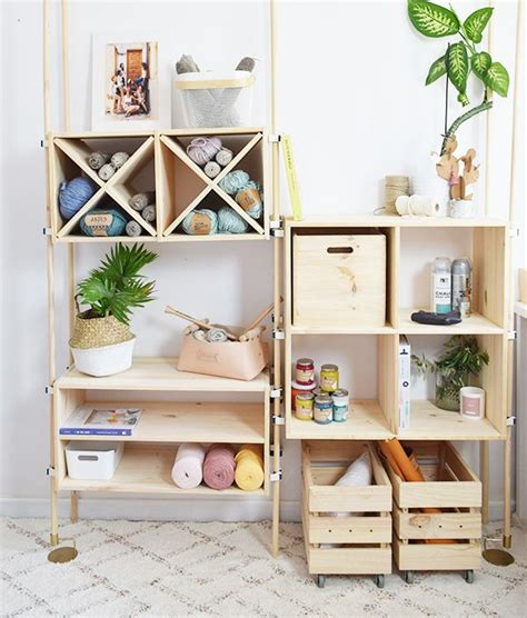Estantería modular con cajas de madera   Leroy Merlin