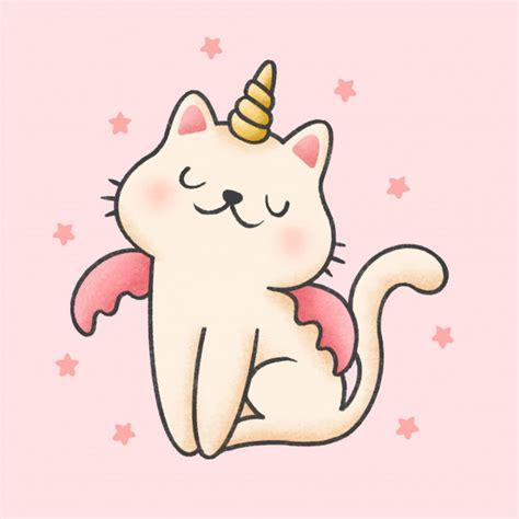 Estilo de mão desenhada unicórnio gato dos desenhos ...