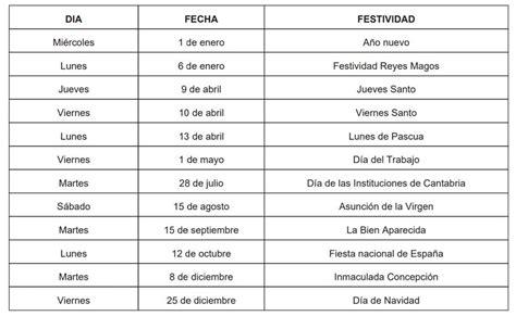 Estos serán los festivos en Cantabria durante el año 2020