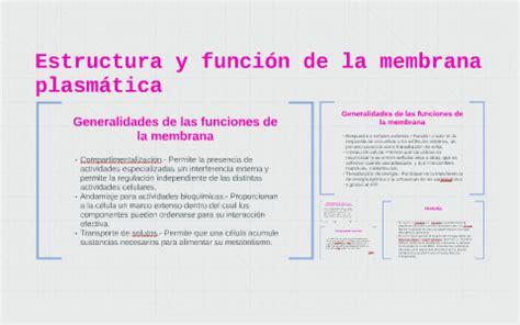 Estructura y función de la membrana plasmática by Sofía ...