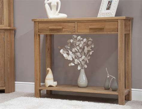 Eton solid oak modern furniture hallway hall console table ...